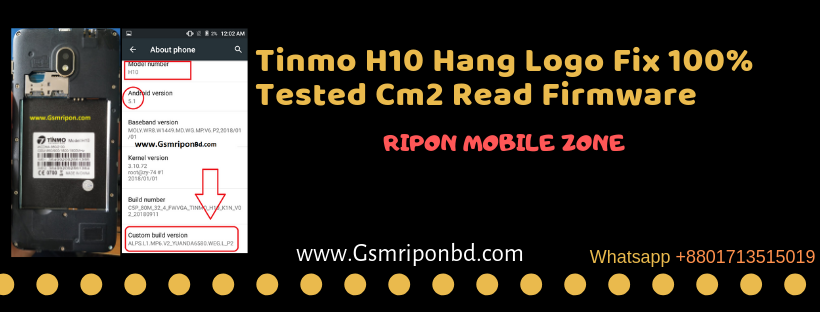 Tinmo H10 Firmware Mt6580 5 1 Update Flash File Stock-Rom